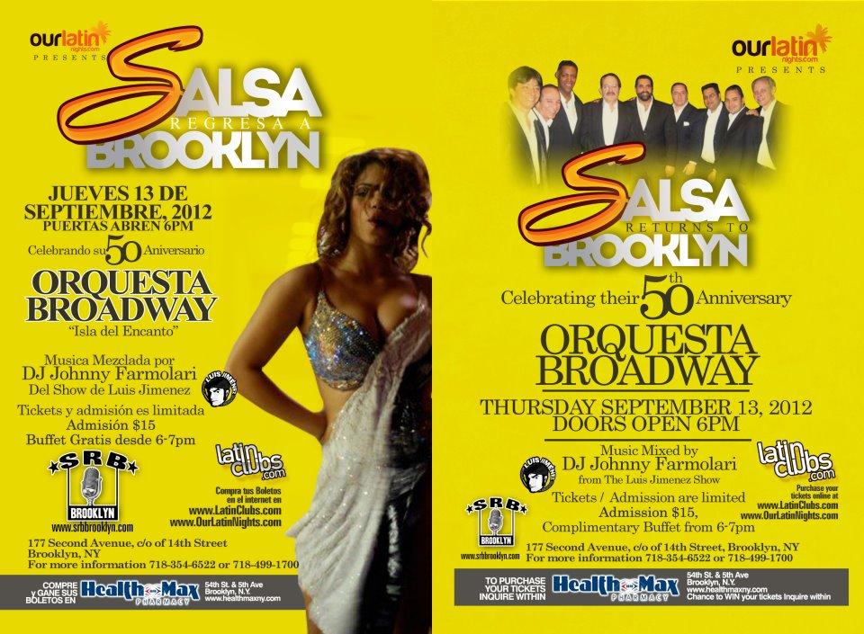 Orquesta Broadway 50th Anniversary September 13th